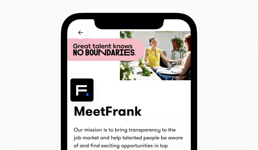 meetfrank company profile on mobile