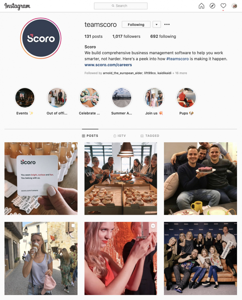 scoro instagram account